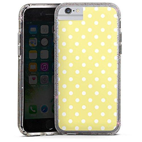 Apple iPhone 8 Bumper Hülle Bumper Case Glitzer Hülle Dots Gelb Yellow Bumper Case Glitzer rose gold
