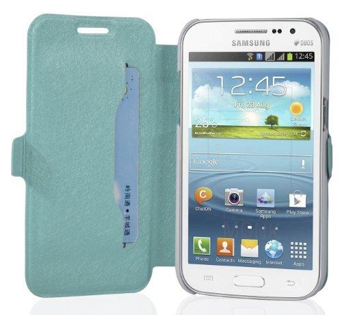 Cadorabo Hülle für Samsung Galaxy Win - Hülle in ICY BLAU - Handyhülle mit Standfunktion und Kartenfach im Ultra Slim Design - Case Cover Schutzhülle Etui Tasche Book