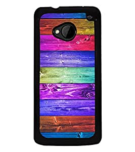 Multi Colour Wooden pattern 2D Hard Polycarbonate Designer Back Case Cover for HTC One :: HTC One M7