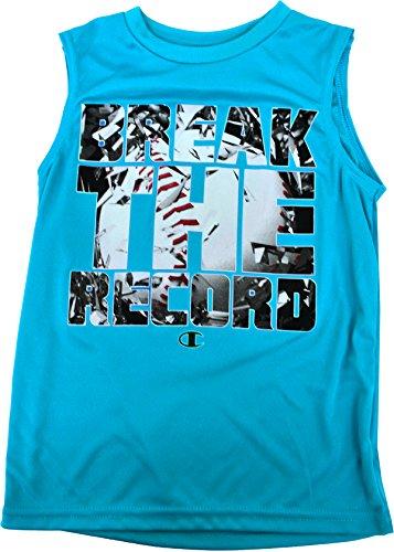 Jungen-Jugend-T-Shirt Brechen Sie den Rekord-Muskel-Beh?lter Atomic Blue 5 (Muskel-shirt Champion)