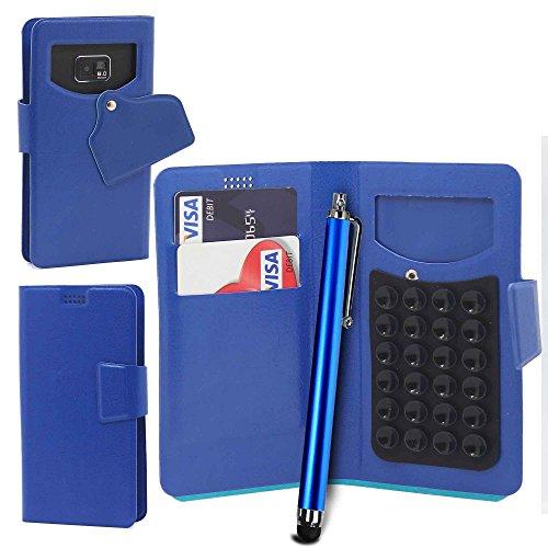 Téléphone portable ventouse Portefeuille + Stylet par Gadget Giant®, Cuir synthétique, blanc, XL bleu