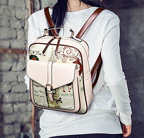 Keshi Pu neuer Stil Schulrucksäcke/Rucksack Damen/Mädchen Vintage Schule Rucksäcke mit Moderner Streifen für Teens Jungen Studenten Mehrfarbig