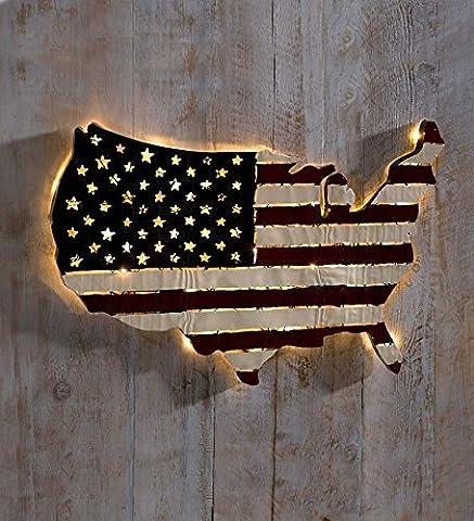 Lighted Americana Flag Art, 32¾L x 21¼H