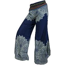 Pantalón Estampado Bengala de Pierna Ancha Palazzo Hippy Boho Festival Gitano Hipster Bohemio (Mandala Navy Blue)