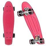 Ancheer Mini-Cruiser-Skateboard 55cm Skateboard mit LED Leuchtrollen (Pink)