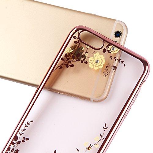 Copertura per 4.7 Apple iPhone 6/6s, MAOOY Flessibile Oro di Lusso Floreale Border Placcatura Back Cover in Gomma Morbida Trasparente Protettiva Custodia Brillantini Resistente ai Graffi Case per iPh Fiore Rosa Giallo