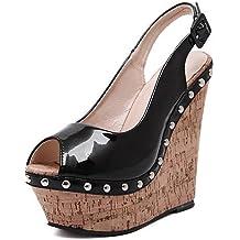 ShangYi Women's Shoes Stars Patchwork Leatherette Platform Peep Toe / Novelty Sandals Outdoor / Casual Black / White , white-us5.5 / eu36 / uk3.5 / cn35 , white-us5.5 / eu36 / uk3.5 / cn35
