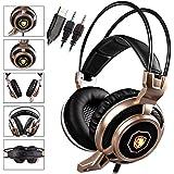 SADES Arcmage 3.5mm PC Gaming Headset Kopfhörer mit hoher Empfindlichkeit Mikrofon für PC / Notebook / Laptop (Gelb)