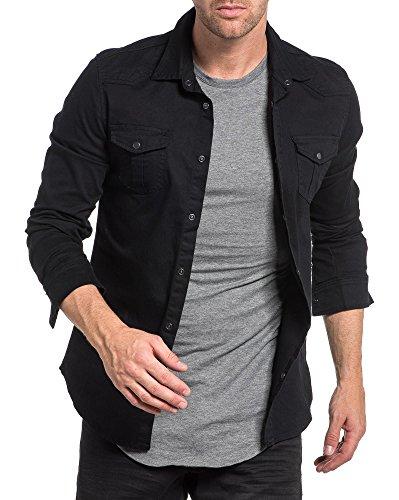 BLZ jeans - Chemise fashion noir unie avec poche et coutures fantaisie Noir
