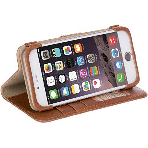 Krusell Sigtuna Folio Wallet Echtleder Schutzhülle mit Visitenkartenfächern, cognacfarben - für Apple iPhone 7 Cognac