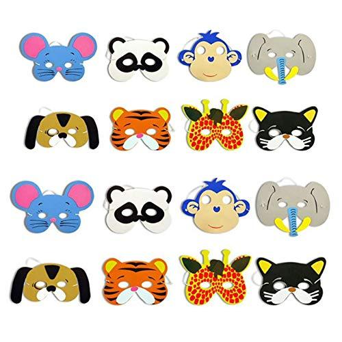 Aawsome 1 Stück Kinder EVA-Schaum süße Cartoon-Tier-Masken Zoo Dschungel-Thema Geburtstag Party Kleid Up Kostüm Party Dekoration Zufällige Stil