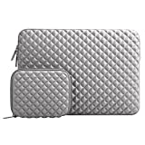 MOSISO Laptop Sleeve, Diamond Foam Water Repellent and Shock Resistant Lycra Bag for 13-13.3 Inch MacBook Pro/Air, Notebook with a Small Case, Gray