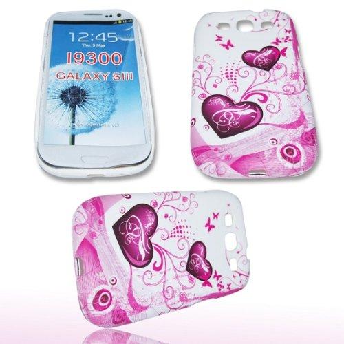 PURPLE HEART für SAMSUNG I9300 Galaxy S 3 III S3 - Hülle Tasche Case Cover Lila Herzen ()