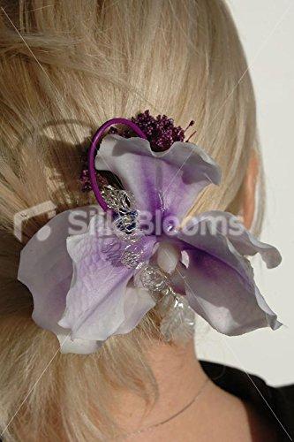 Prpura-centrado-Vanda-orqudea-Artificial-boda-Haircomb-WCable