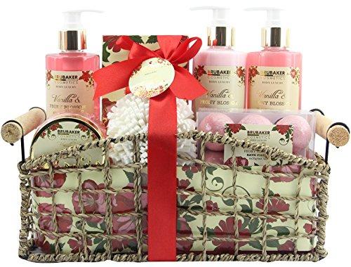 BRUBAKER Beautyset Bade- und Dusch Set Pfingstrosen Blüten Duft - 13-teiliges Geschenkset in dekorativem Korb -
