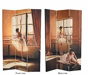 Alvian-comfort paravent avec motif danseuse de ballet triple motif :  115 x 180 cm-imprimé des deux côtés