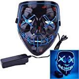 Alxcio Máscara de Halloween, LED Light Up Purge Mask, Máscaras para Adultos Juguetes para Fiestas Festival Cosplay Disfraz de Halloween, Azul