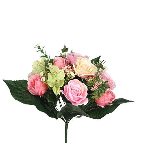 Mica decorations 1026591 Rose Bukett rosa mix - L33cm Blumenstrauss, Rosa Bunt, 24 x 24 x 33 cm