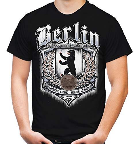 Für Immer Berlin Männer und Herren T-Shirt   Sport Fussball Stadt Fan (4XL, Schwarz Druck: Bunt)