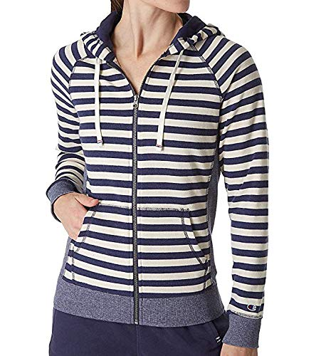 Champion Women's Heritage French Terry Full Zip Hood, Imperial Indigo Heather/Oatmeal Heather Stripe, X-Large French Terry Full Zip Hood
