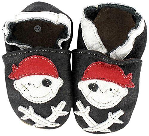 Chaussures premiers pas / Chaussons Bébé en cuir doux - Pirate »Pirat Jack« HEBA-Germany