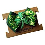 """Lucky Green Shamrock Hair bow, Perfect for St Patricks day. 4"""" Bow on Alligator Clip."""
