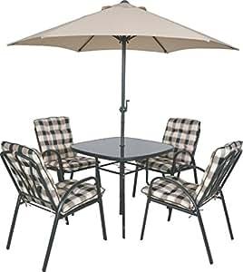 4-Sitzer Outdoor Gartenmöbel Set Tisch Stühle Sonnenschirm und gepolsterter Esszimmerstühle