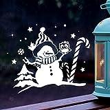 Fensterbild Schneemann & Eule Fensterbilder Fensterdeko Winterlandschaft L 40x31cm + Sterne & Schneeflocken selbstklebend für Kinder M2262 ilka parey wandtattoo-welt®