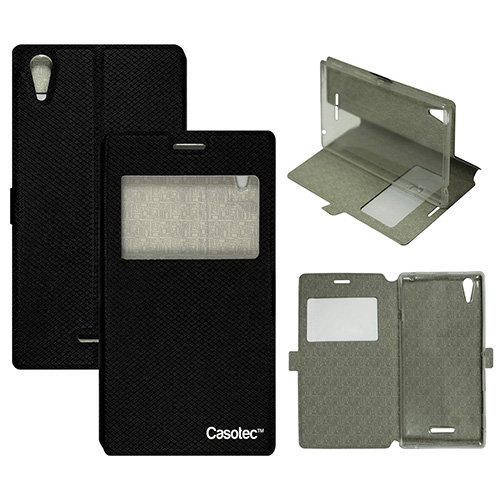 Casotec Premium Kickstand Caller-id Flip Case Cover with Snap Button Closure for Sony Xperia T3 - Black  available at amazon for Rs.349