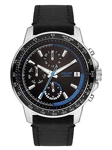 s.Oliver Herren Multi Zifferblatt Quarz Uhr mit Leder Armband SO-3488-LM