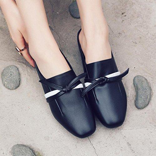 Bogen mit niedrigen Absätzen Sandalen Frauen Baotou faul Hälfte Pantoffeln Waichuan weibliche Sandalen Black