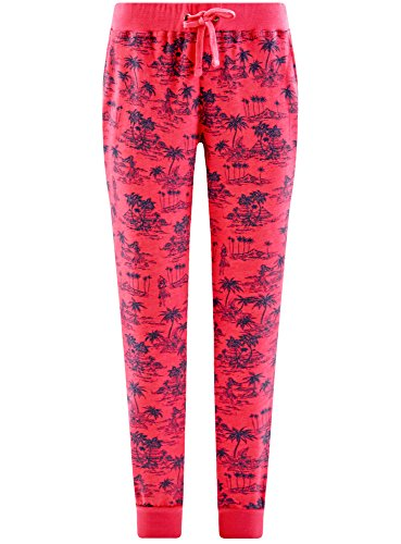 oodji Ultra Donna Pantaloni in Maglia con Coulisse Rosa (4D83G)