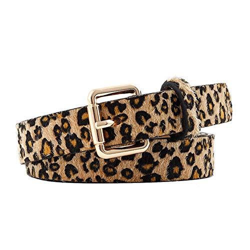 Wicemoon 1pcs Camello Cinturón de Mujer Leopardo Patrón Aleación Hebilla Cinturón Para Pantalones de Vestir 105cm*2.5cm