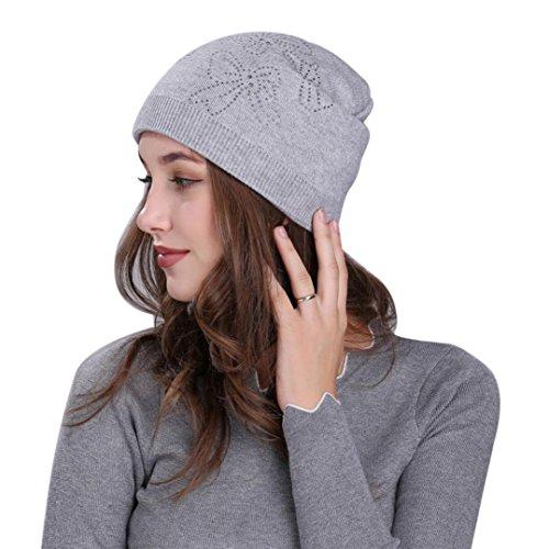 Damen Mütze / Strickmütze ,TUDUZ Frauen Reine Farbe stricken Schnee Hut Winter Snowboarden Beanie kappe (Grau)