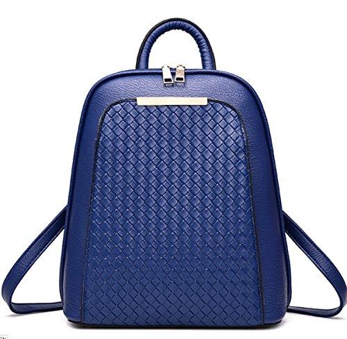 YOGLY Damen Rucksack Umhängetasche Schulrucksäcke PU Reise Daypacks Tasche Schulranzen Blau A