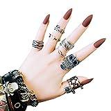 AiSi 24pcs Künstliche Fingernägel zum Aufkleben, Künstliche Nägel, Nail Tips, Selbstklebende Nägel Nagelaufkleber Nägel Tips mit Kleber (F91)