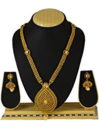Sadnya Traditional Necklace Set With Jhumka Earring For Bridal Jewellery Antique Finish Necklace Set - BHNK03