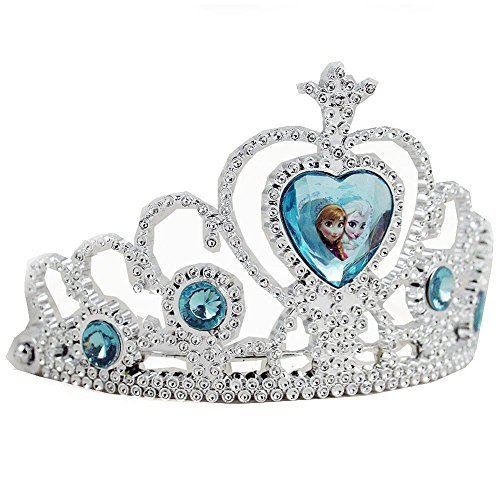 Click for larger image of Disney Frozen Tiara Crown - Silver with Blue Elsa and Anna Heart Jewel
