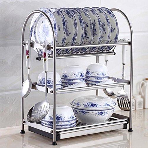 ZCJB Étagère de cuisine Acier Inoxydable Plat Rack Cuisine Drain Plats Rack Cuisine Racks Séchage Vaisselle Rack Stockage Fournitures (Couleur : 3-tier, taille : 40 cm)