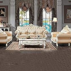 DNNAL Sofa de CueroNuevo Conjunto de sofás de Cuero Genuino de Alto Grado Muebles de Madera Maciza adecuados para Villas y Salas de Estar