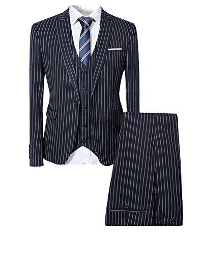 Costume homme formel rayure un bouton à la mode slim fit trois pièces Bleu Marine