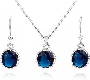 Zaffiro simulato Blu Ellisse Cristalli di zirconi Purare Collana con Ciondolo 45 cm Orecchini 18 kt Placcato Oro Bianco