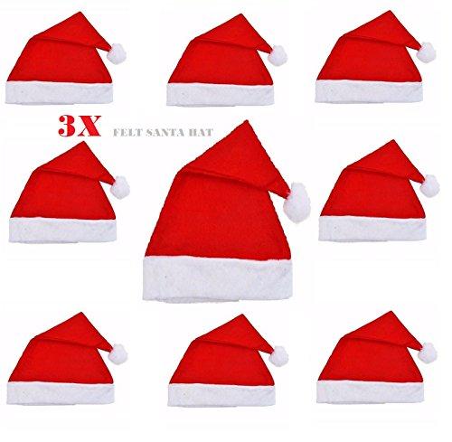 Set Of 3 Adult Red Felt Christmas Santa Hat Xmas Ladies Men's Unisex Fancy Dress Accessory