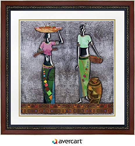 Avercart African American Woman Modern Abstract Art Poster 30x30 cm Framed (with Frame Size: 39x39 cm) -