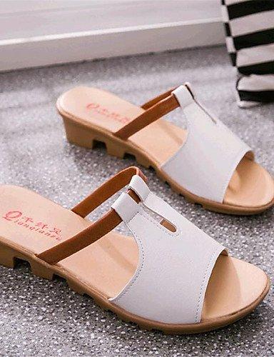 UWSZZ IL Sandali eleganti comfort Scarpe Donna-Sandali-Tempo libero / Casual-Comoda-Basso-Finta pelle-Nero / Blu / Rosa / Bianco Pink