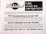 60er Jahre : Anzeige: KUKIDENT HÄLT WAS ES... - Format: ca. 140 x 115 mm - alte Werbung /Originalwerbung/ Printwerbung