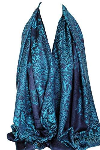 Bullahshah Floral umrahmten zwei zweiseitig Reversible Print Pashmina weichem Wrap Schal Scarf Hijab Kopf Schals (Marineblau & Türkis)