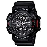 ساعة جي-شوك من كاسيو للرجال انالوج-رقمية بسوار رمادي Others Black & Dark Red