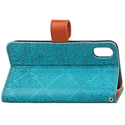 European Mural Pattern Luxus Retro PU Leder Geldbörse Tasche Tasche mit Geared Echtleder Niet Gürtelschnalle & Kickstand für IPhone X ( Color : Light brown ) Blue