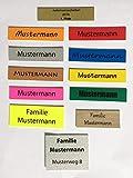 KaiserstuhlCard 1 Briefkastenschild Türschild Pokalschild Namensschild Klingelschild selbstklebend Wunschtext Wunschname 11 verschiedene Farben Maßanfertigung